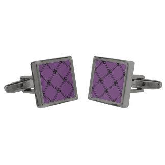 ゴシック様式黒いおよび紫色の十字形パターン ガンメタルカフスボタン