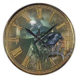 ゴシック様式黒いカラス ラージ壁時計