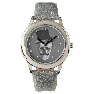 ゴシック様式steampunkのスカルの紳士のキャラクター 腕時計