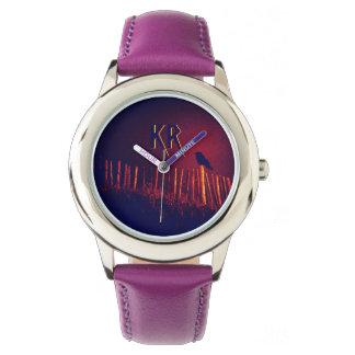 ゴシックQuoth真夜中の空、モノグラムの下のワタリガラス 腕時計