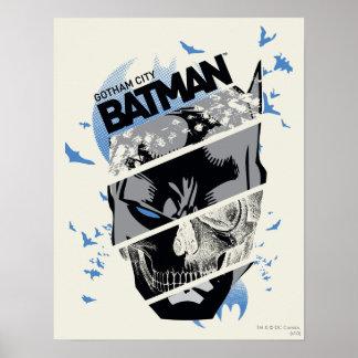 ゴッサム・シティのバットマンのスカルのコラージュ ポスター