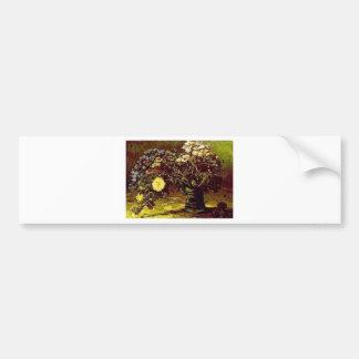 ゴッホのつぼの花の花のヴィンテージの絵を描くこと バンパーステッカー