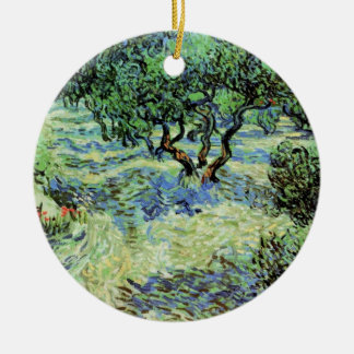 ゴッホのオリーブ畑、ヴィンテージの木のファインアート セラミックオーナメント