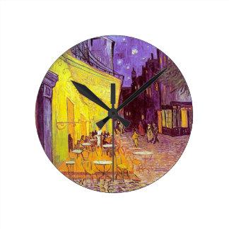 ゴッホのカフェの印象派の絵画 ラウンド壁時計