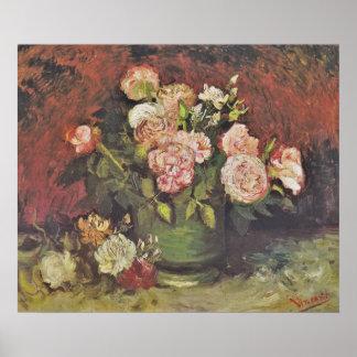 ゴッホのシャクヤクおよびバラの花の芸術GalleryHD ポスター