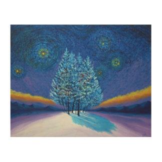 ゴッホのスタイルの青のクリスマス ウッドウォールアート