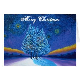 ゴッホのスタイルの青のクリスマス カード
