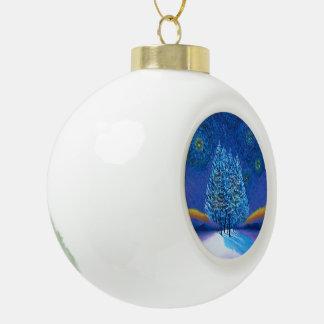 ゴッホのスタイルの青のクリスマス セラミックボールオーナメント