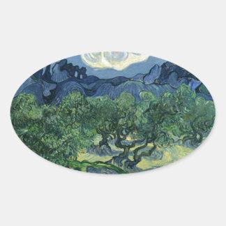 ゴッホのファインアートによるオリーブ 楕円形シール