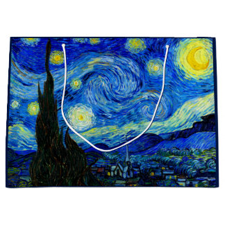 ゴッホのファインアートによる星明かりの夜 ラージペーパーバッグ