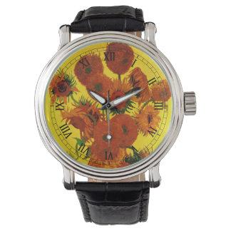 ゴッホのファインアート、15のヒマワリが付いているつぼ 腕時計