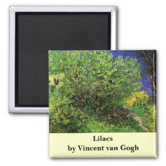 ゴッホのライラック、ヴィンテージの花、花のファインアート 冷蔵庫マグネット