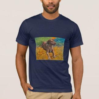 ゴッホの上昇の月のRhodesian Ridgebackのティー Tシャツ