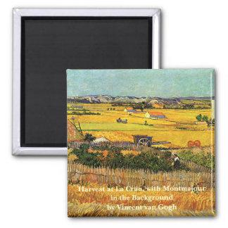 ゴッホの収穫のLa Crau、Montmajourのファインアート マグネット