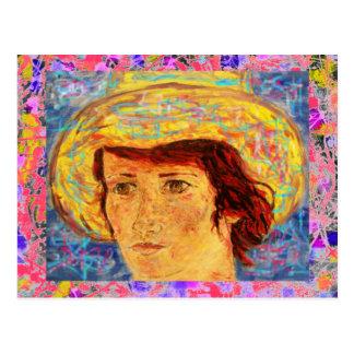 ゴッホの帽子の滴りを持つ女の子 ポストカード