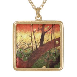 ゴッホの日本のな花盛りのスモモの木、ファインアート ゴールドプレートネックレス