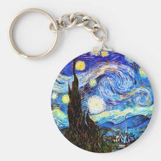 ゴッホの星明かりの夜ファインアート キーホルダー