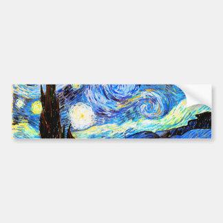 ゴッホの星明かりの夜ファインアート バンパーステッカー