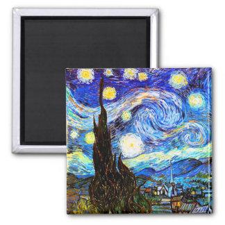 ゴッホの星明かりの夜ファインアート マグネット