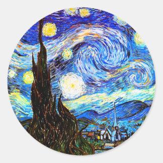 ゴッホの星明かりの夜ファインアート ラウンドシール
