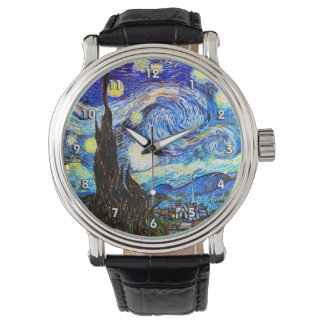 ゴッホの星明かりの夜ファインアート 腕時計