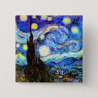ゴッホの星明かりの夜ファインアート 5.1CM 正方形バッジ