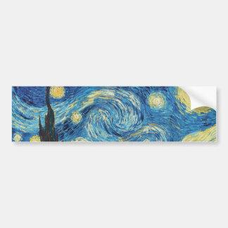 ゴッホの星明かりの夜印象派の絵画 バンパーステッカー