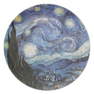 ゴッホの星明かりの夜印象派の絵画 プレート