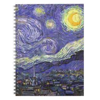 ゴッホの星明かりの夜、ヴィンテージのファインアートの景色 ノートブック