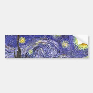 ゴッホの星明かりの夜、ヴィンテージのファインアートの景色 バンパーステッカー