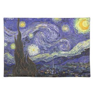 ゴッホの星明かりの夜、ヴィンテージのファインアートの景色 ランチョンマット