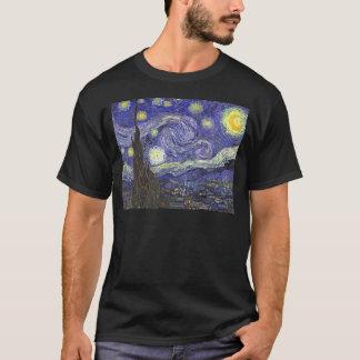 ゴッホの星明かりの夜、ヴィンテージのファインアートの景色 Tシャツ