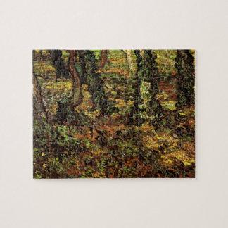 ゴッホの木の幹wのキヅタ、ヴィンテージの印象主義 ジグソーパズル