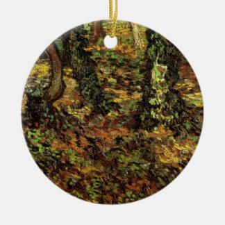 ゴッホの木の幹wのキヅタ、ヴィンテージの印象主義 陶器製丸型オーナメント