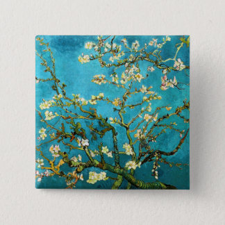 ゴッホの活気付くアーモンド木のファインアート 5.1CM 正方形バッジ