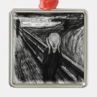 ゴッホの精神リメイク: エドヴァルド・ムンク著叫び シルバーカラー正方形オーナメント