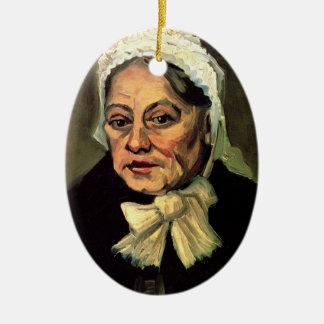 ゴッホの老女、白い帽子(助産婦)の頭部 セラミックオーナメント