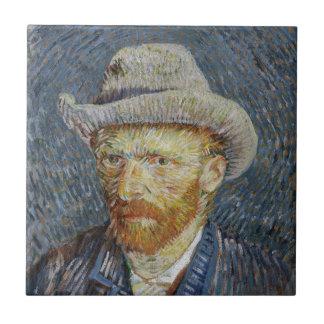 ゴッホの自画像の灰色のフェルトの帽子の絵画の芸術 タイル