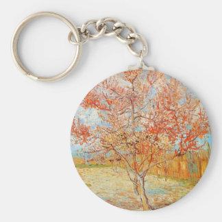 ゴッホの花のキーホルダーのピンクのモモ木 キーホルダー