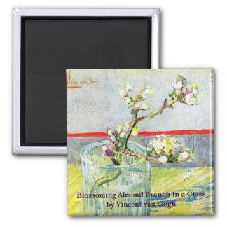 ゴッホの芸術、ガラスの活気付くアーモンドの枝 冷蔵庫用マグネット