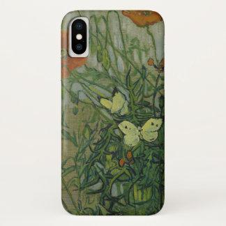 ゴッホの蝶およびケシのヴィンテージのファインアート iPhone X ケース