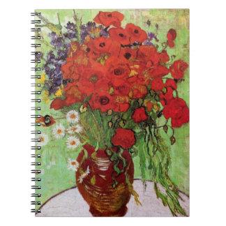 ゴッホの赤いケシおよびデイジーのノート ノートブック