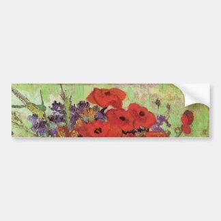 ゴッホの赤いケシおよびデイジーのファインアートの花 バンパーステッカー