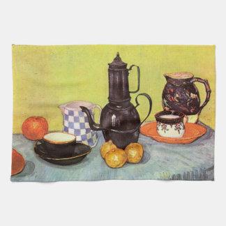ゴッホの青いエナメルのCoffeepot、土器、フルーツ キッチンタオル