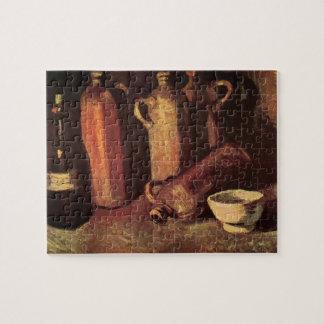 ゴッホの静物画の石のボトル、フラスコの白のコップ ジグソーパズル