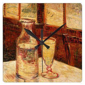 ゴッホの「アブサンおよびCarafe」の時計のガラス スクエア壁時計