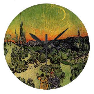 ゴッホの「カップルの歩く」の時計との景色 ラージ壁時計