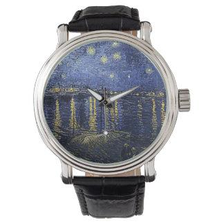 ゴッホの「ローヌ上の星明かり夜」の腕時計 腕時計