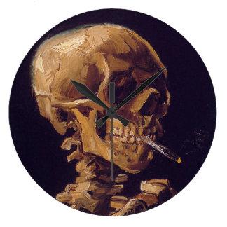 ゴッホの「非常に熱いタバコ」の時計が付いているスカル ラージ壁時計