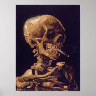 ゴッホの「非常に熱いタバコ」ポスターが付いているスカル ポスター